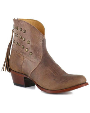 Shyanne Women's Studded Fringe Booties, Brown, hi-res