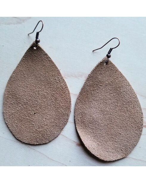 Jewelry Junkie Tan Suede Teardrop Earrings, Tan, hi-res