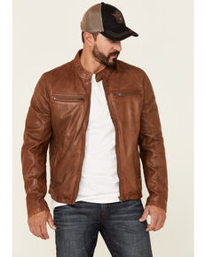 Mauritius Leather Men's Cognac Jon Zip-Front Moto Leather Jacket , Cognac, hi-res