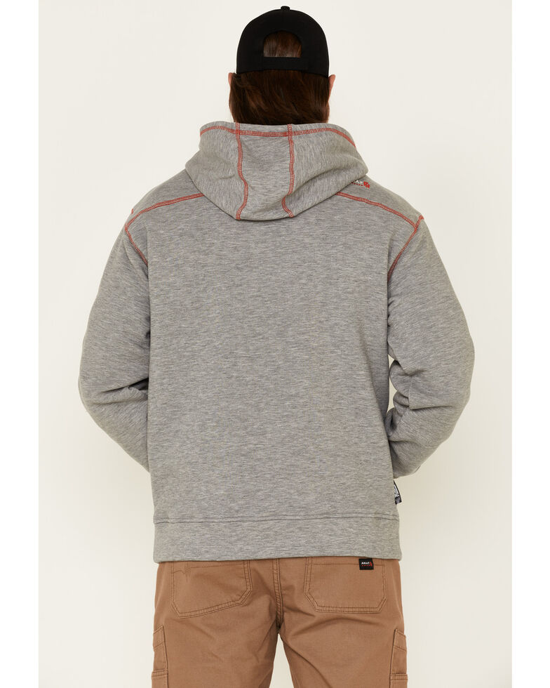 Ariat Men's Flame-Resistant Polartec Hooded Work Sweatshirt , Hthr Grey, hi-res