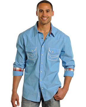 Rock & Roll Cowboy Men's Long Sleeve Western Shirt , Turquoise, hi-res