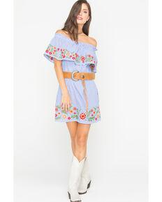 ad28488d3d4 Miss Me Womens Spring To It Off-The-Shoulder Dress, Blue, hi