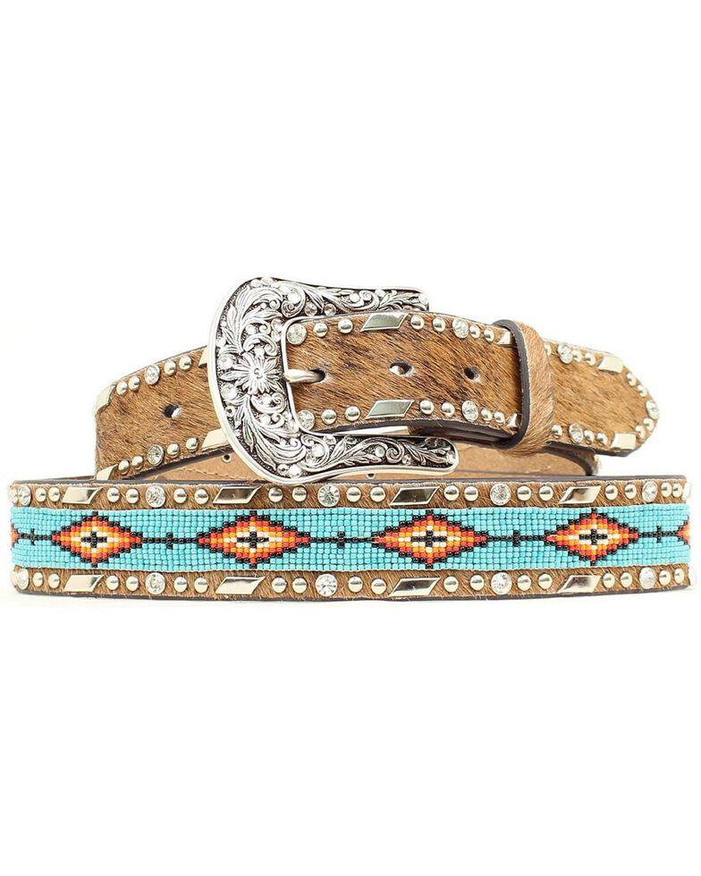 Ariat Beaded Ribbon Inlay Belt, Brown, hi-res