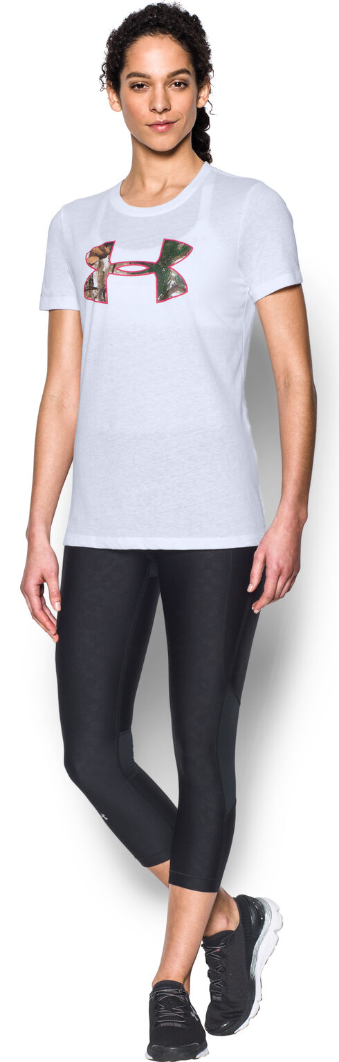 Under Armour Women's White Camo Logo Triblend T-Shirt, White, hi-res