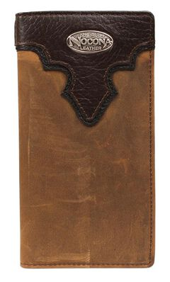 Nocona Distressed Leather Concho Rodeo Wallet, Brown, hi-res