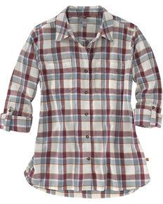 Carhartt Women's Fairview Plaid Shirt , Burgundy, hi-res
