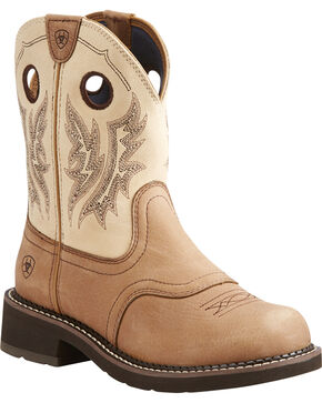 Ariat Women's Fatbaby Tan Heritage Cowgirl Boots - Round Toe , Tan, hi-res