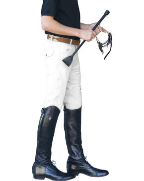Ovation Boys' Euroweave Four Pocket Breeches, White, hi-res