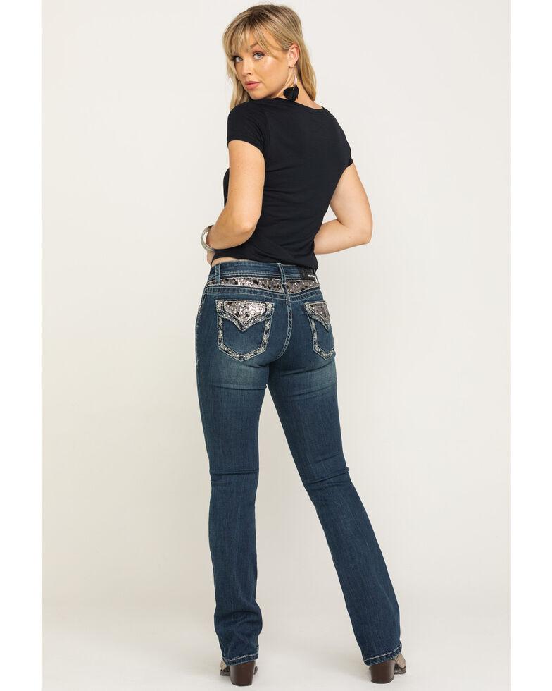 """Grace in LA Women's Dark Sequin Back Yoke 34"""" Bootcut Jeans, Blue, hi-res"""