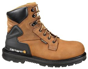 "Carhartt 6"" Waterproof Lace-Up Work Boots - Round Toe, Bison, hi-res"