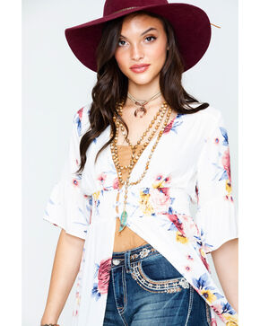 Wrangler Women's Floral Print Button Front Duster , Ivory, hi-res