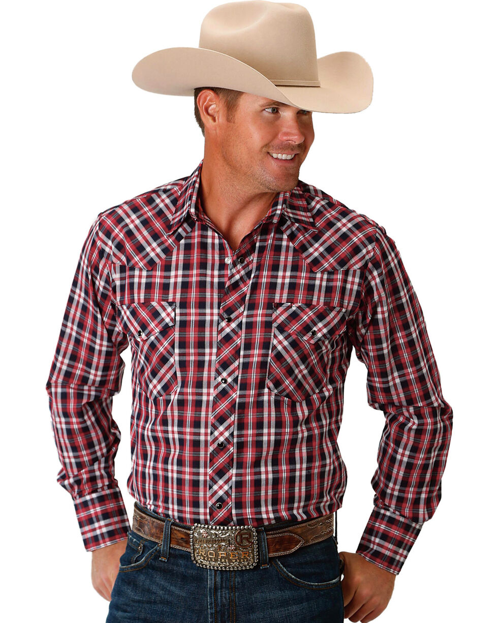 Roper Men's Patriotic Plaid Long Sleeve Western Snap Shirt, Red, hi-res