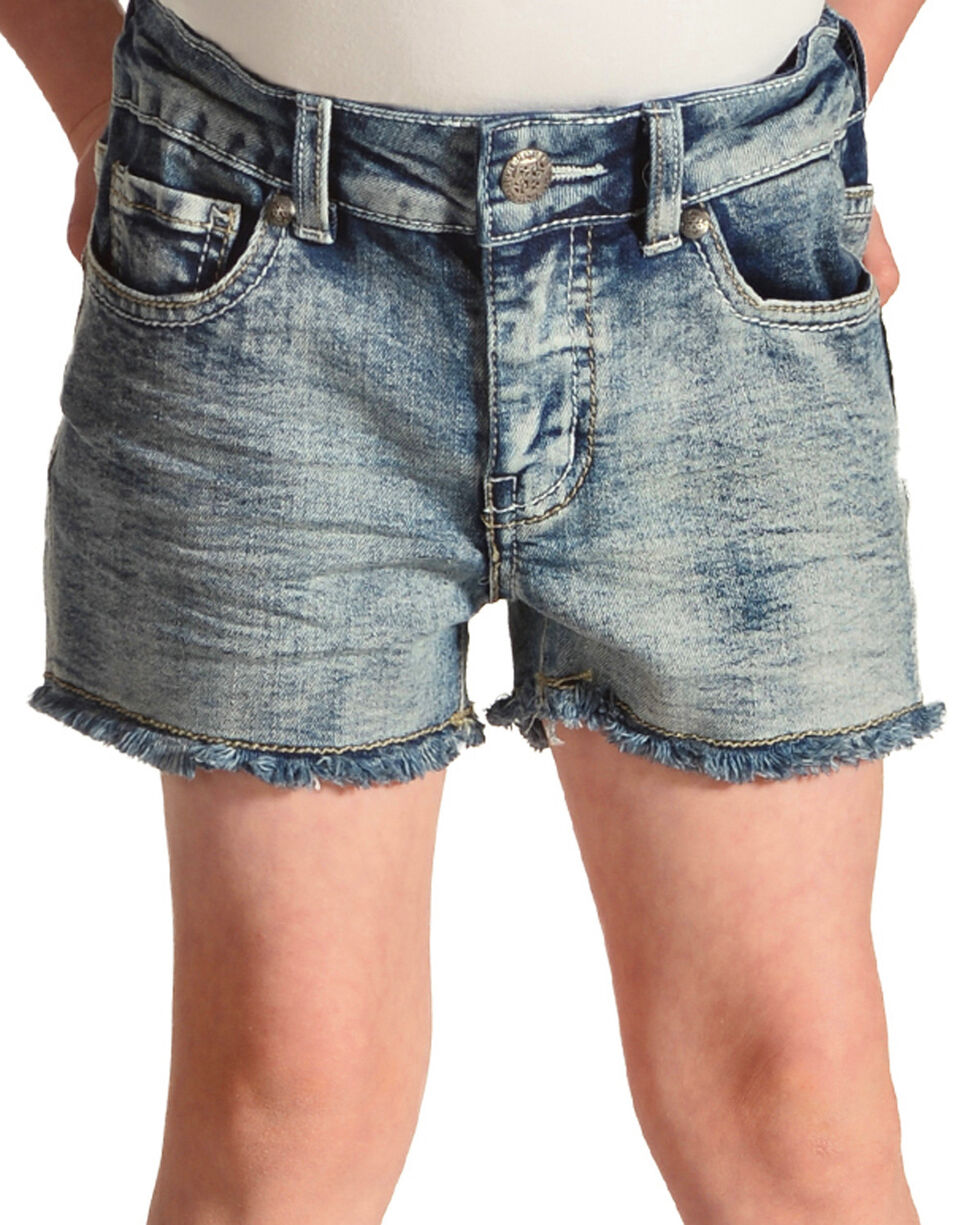 Silver Girls' Frayed Denim Shorts , Indigo, hi-res