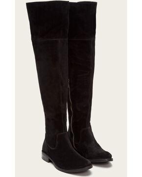 Frye Women's Black Suede Shirley OTK Boots - Round Toe , Black, hi-res