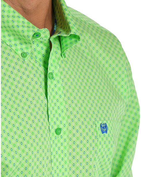 Cinch Men's Lime Printed Plain Weave Long Sleeve Button Down Shirt, Bright Green, hi-res