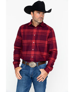 Under Armour Men's Borderland Flannel Shirt, Red, hi-res