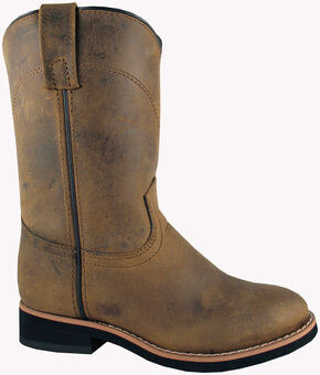 Smoky Mountain Boys' Muskogee Roper Western Boots - Round Toe, Brown, hi-res