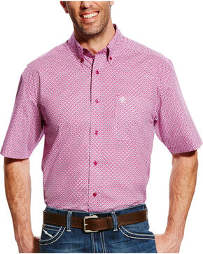 Ariat Men's Evander Short Sleeve Print Shirt, Violet, hi-res