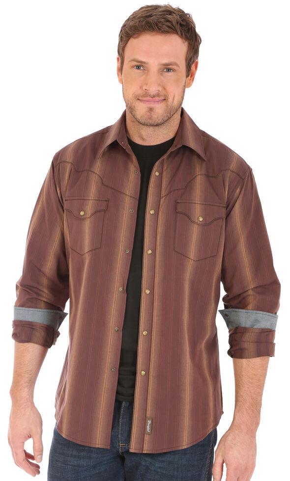 Wrangler Retro Men's Vertical Striped Long Sleeve Western Shirt , Brown, hi-res