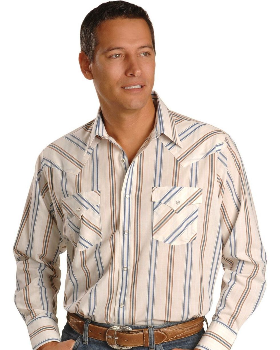 Ely Cattleman Men's Assorted Plaid or Stripe Long Sleeve Western Shirt, Stripe, hi-res