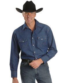 Wrangler Cowboy Cut Rigid Denim Western Work Shirt, Denim, hi-res