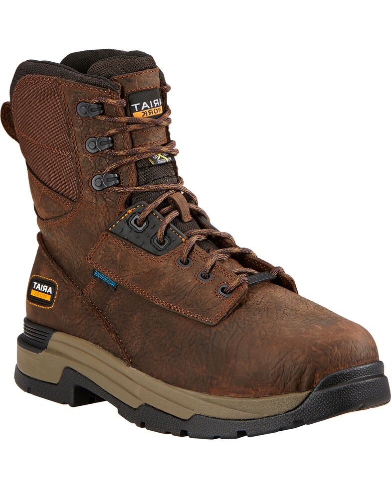 "Ariat Mastergrip 8"" H2O Work Boots - Composite Toe, Brown, hi-res"