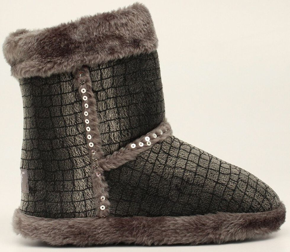 Blazin Roxx Plush Gray Sequin Slipper Booties, Grey, hi-res