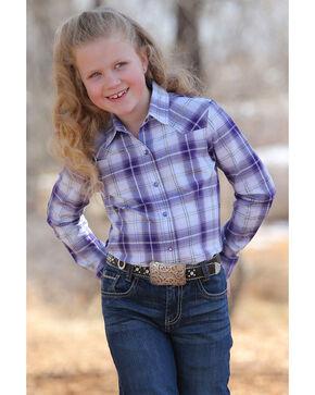 Cruel Girl Girls' Mylar Plaid Long Sleeve Western Shirt , Multi, hi-res