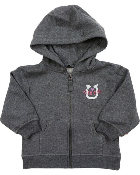 Farm Girl Toddler Girls' Western Zip Hoodie Sweatshirt, Grey, hi-res