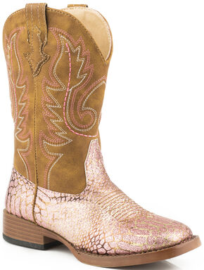 Roper Youth Girls' Pink 'n Gold Glitter Cowgirl Boots - Square Toe, Pink, hi-res