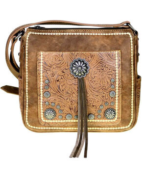Montana West Women's Brown Concho Concealed Carry Crossbody Bag , Brown, hi-res