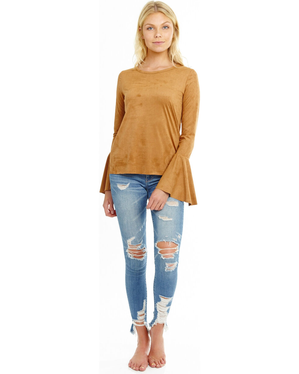 Mary & Mabel Women's Long Bell Sleeve Suede Top, Camel, hi-res