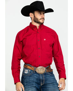Ariat Men's Red Tailgate Plaid Long Sleeve Western Shirt , Red, hi-res