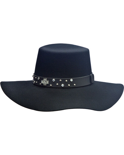 Silverado Women's Belle Flat Top Hat  , Black, hi-res