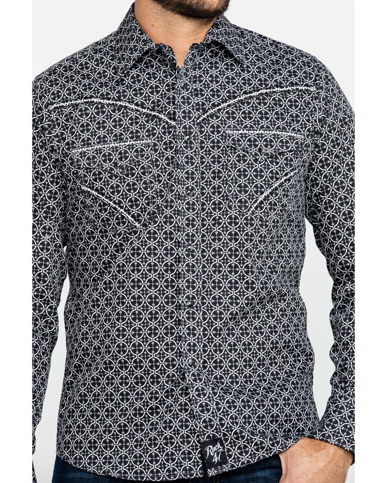 Rock 47 By Wrangler Men's Black Geo Print Long Sleeve Western Shirt , Black, hi-res