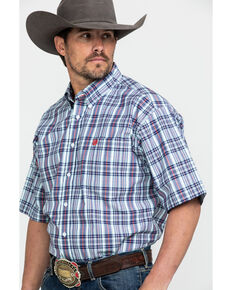 Cinch Men's Large Plaid Button Short Sleeve Western Shirt , Light Blue, hi-res