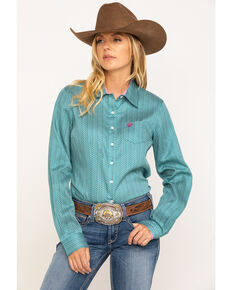Cinch Women's Teal Micro Geo Button Long Sleeve Core Western Shirt , Teal, hi-res