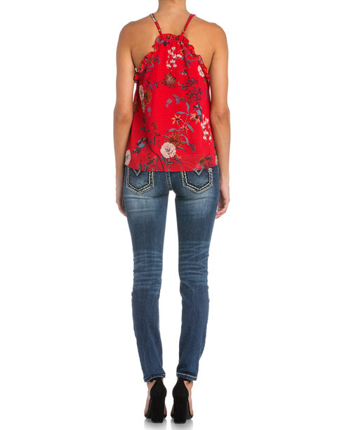 Miss Me Women's Red Floral Button Down Tank with Ruffles, Red, hi-res