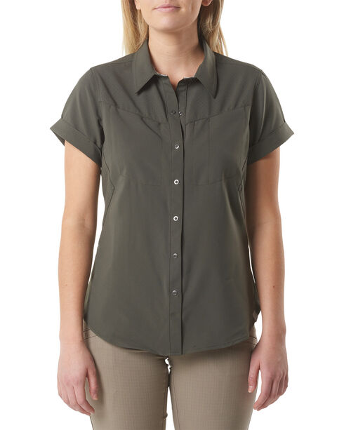 5.11 Tactical Women's Freedom Flex Woven Shirt , Green, hi-res