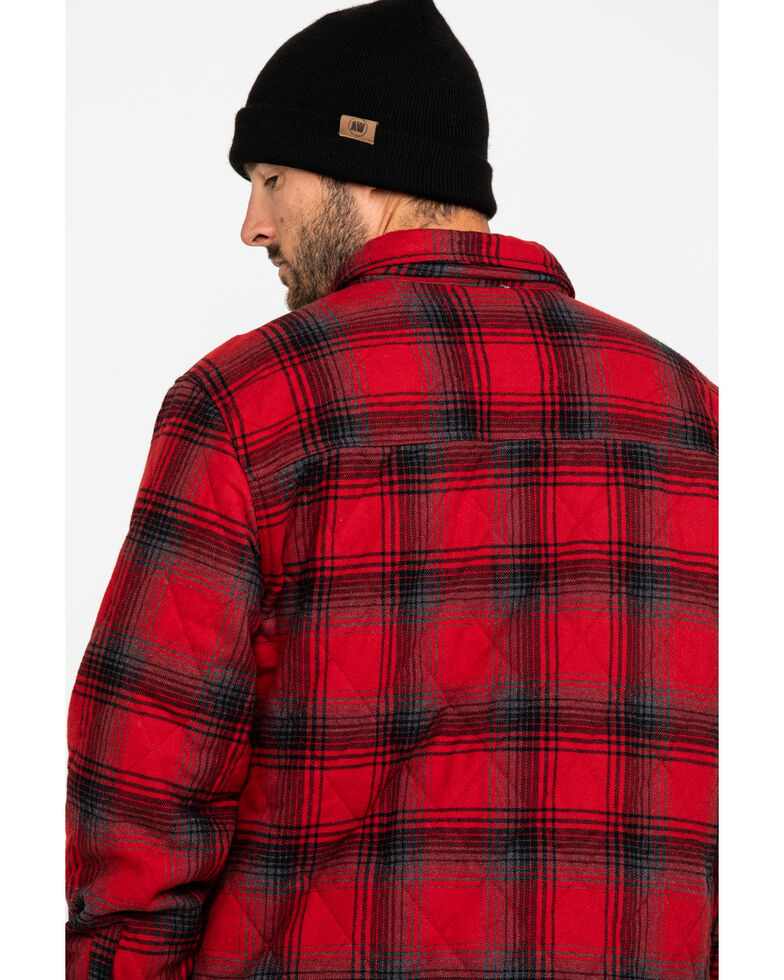 Hawx Men's Red Miller Plaid Quilted Shirt Work Flannel Jacket , Red, hi-res