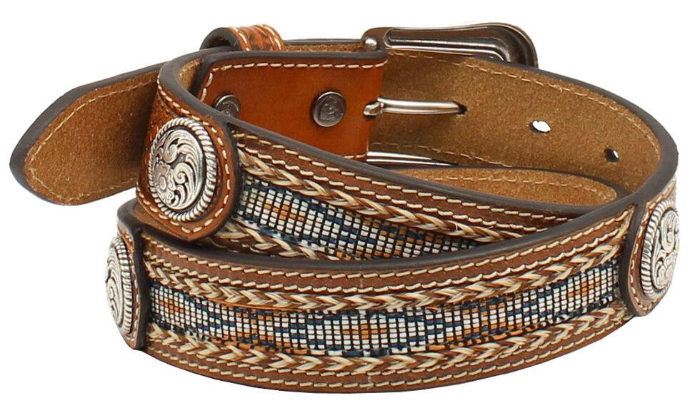 Ariat Boys' Beaded Basketweave Belt, Natural, hi-res