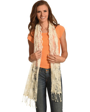 Shyanne Women's Lace Scarf, Cream, hi-res