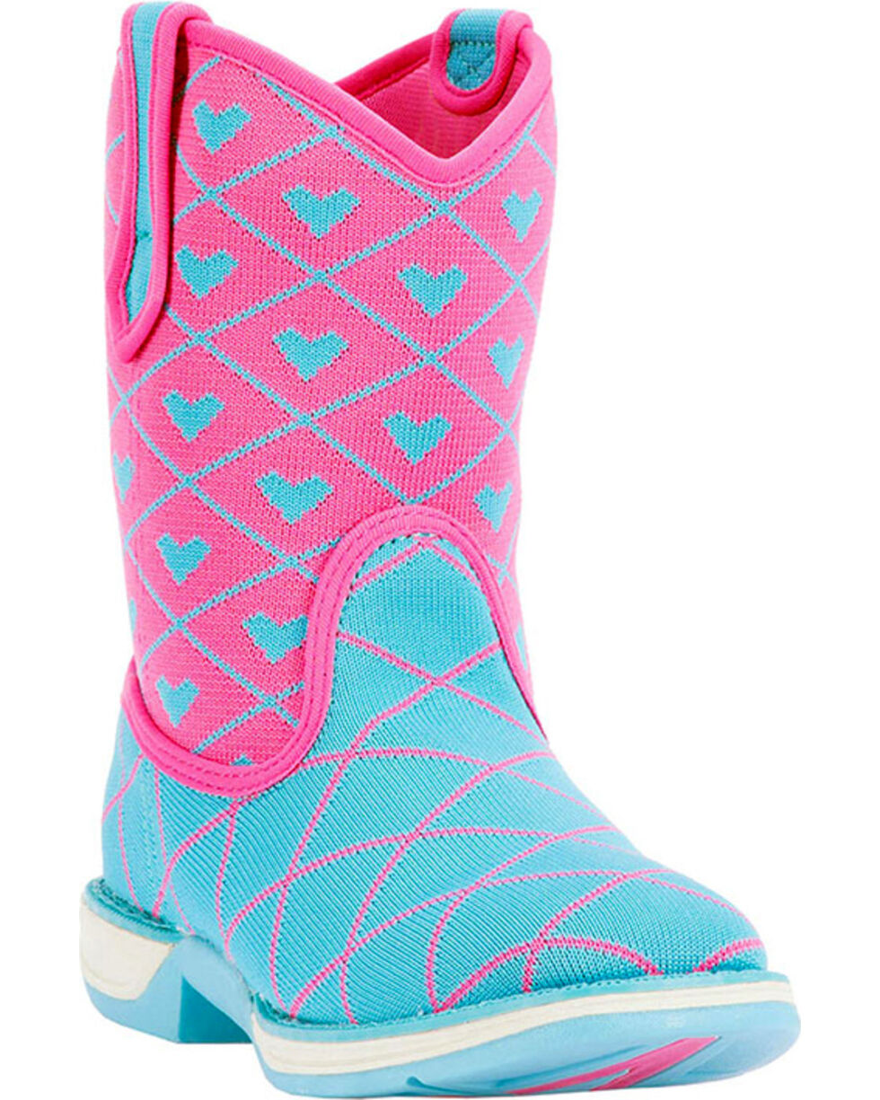 Laredo Girls' Spryte Pink and Blue Perform Air Cowgirl Boots - Square Toe, Blue, hi-res