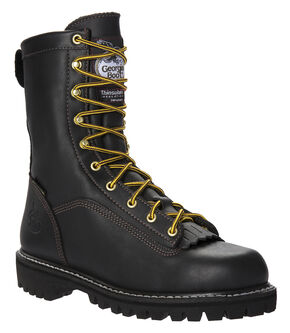 Georgia Insulated Low Heel Logger Work Boots - Round Toe, Black, hi-res