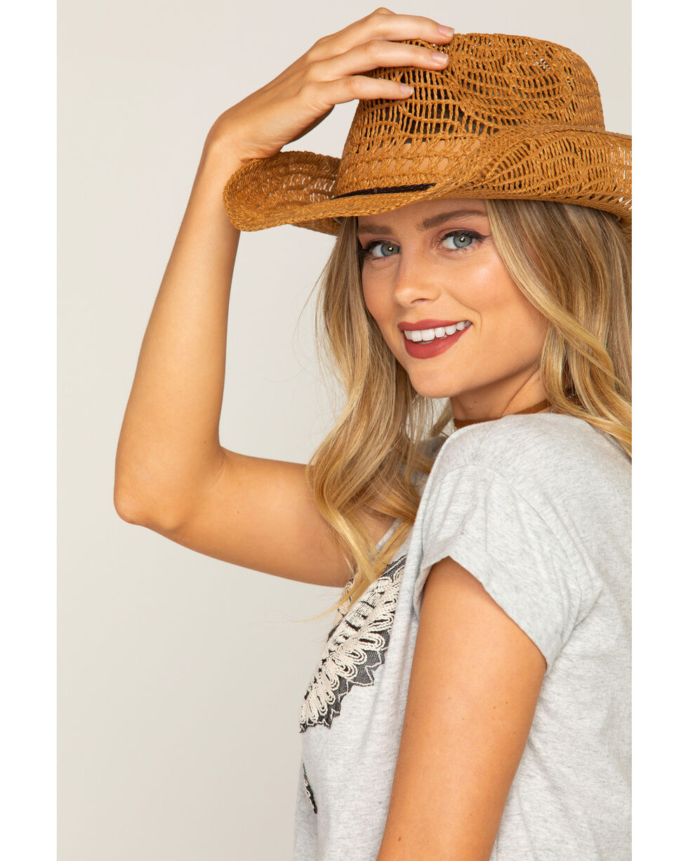Shyanne Women's Brakley Straw Hat, Brown, hi-res