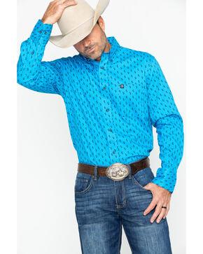 Wrangler Men's Turquoise Paisley Print Long Sleeve Performance Shirt , Turquoise, hi-res