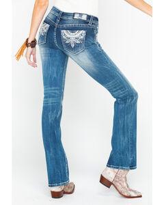 Grace in La Women's Medium Blue Fleur De Lis Jeans - Boot Cut , Medium Blue, hi-res