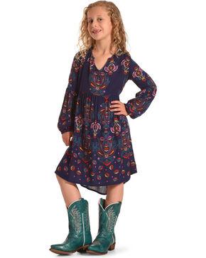 Shyanne Girls' Peasant Printed Long Sleeve Dress, Navy, hi-res