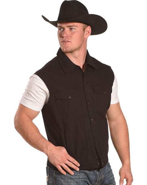 Liberty Wear Men's Black Sleeveless Denim Jacket Vest, Black, hi-res