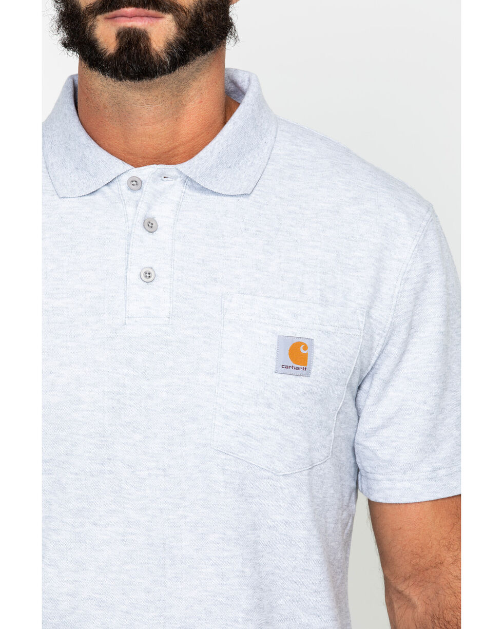 Carhartt Contractor's Work Pocket Polo Shirt - Big & Tall, Hthr Grey, hi-res